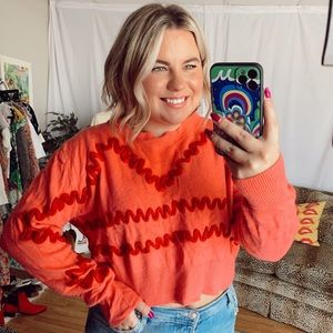 Topshop pink red striped cropped sweater